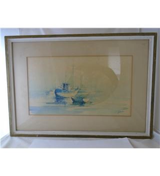 Vintage - Charles A Jaques - Size Medium - Original Watercolour of boats at moorings