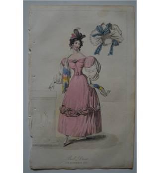 Image of 1829 The Lady's Magazine Fashion Engraving - Ball Dress for Nov. 1829