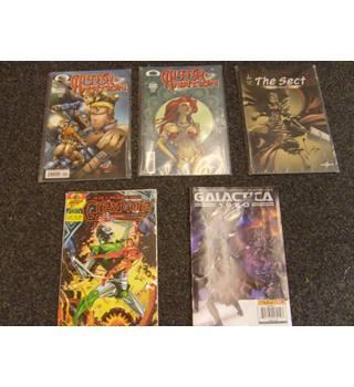 Image comics Alter Nation nos 1 and 2, Powerhouse comics The Sect no 1, Sirius comics Greylore no 2, Galactica 1980
