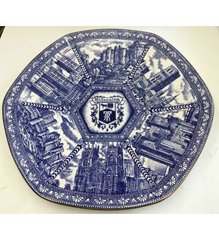 """Image of 11"""" Blue and White Hexagonal """"Millennium"""" Plate for Ringtons by Ware"""