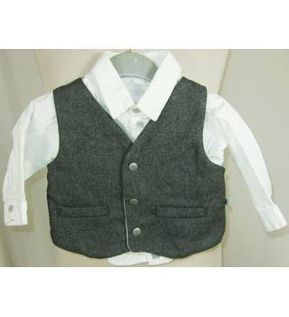 Mothercare - 3-6 Months - Grey and White - Shirt and Waistcoat
