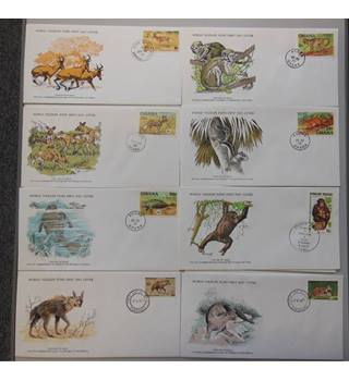 WWF 8 FDCs featuring Mammals selection C