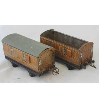 Two Hornby Meccano O Gauge Passenger Brake Van