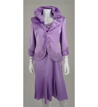 Veni Infantino for Ronald Joyce Size 10 Lilac Embellished Dress & Jacket Suit