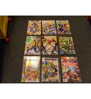 Nine comics - Storm Quest nos 1, 2, 3, 5, 6, Big Bang #4, UN Force #0, 1, Hamilton \'Freaked\' movie adaption