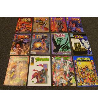 Twelve comics incl Top Cow Spirit of the Tao # 1, 2, 3, 4, 6, 8, First comics Jon Sable # 28, 53, Image Cyber Force #3, Spawn #21
