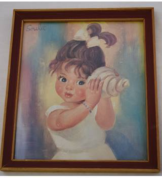 Vintage Soulet Print Little girl with Shell