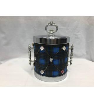 1960s 70s Vintage Retro Ice Bucket Barware Drinkware Blue Black Plaid Tartan Kitchen Dining Serving