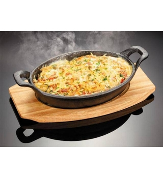 Durable Platter made from cast iron and maple wood