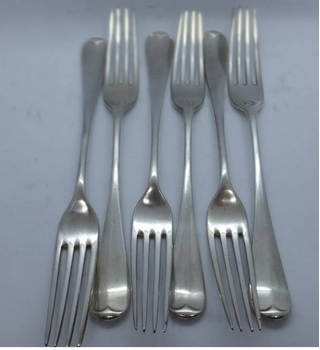 Antique Martin, Hall & Co Six Dinner Forks Silver Plated